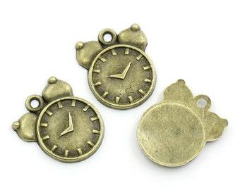10 Pieces Antique Bronze Alarm Clock Charms