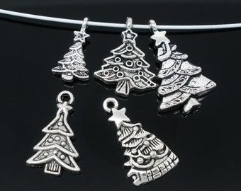 5 Pieces Mixed Antique Silver Christmas Tree Charms