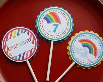 Rainbow Cupcake Toppers - Set of 12