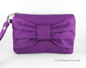SUPER SALE - Eggplant Purple Clutch - Bridal Clutches, Bridesmaid Wristlet,Wedding Gift,Cosmetic Bag,Makeup Bag,Zipper Pouch - Made To Order
