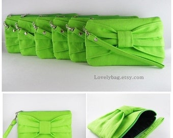 SUPER SALE - Set of 9 Bridal Clutches, Bridesmaids Clutches / Lime Green Bow Clutches - Personalized Monogram Zipper Pull - Made To Order