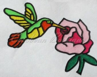 embroidery applique Hummingbird