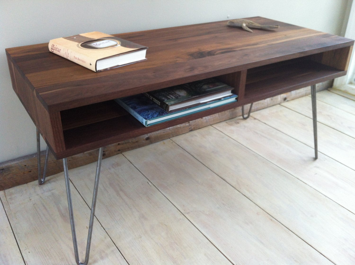 mid century modern coffee table black walnut with by. Black Bedroom Furniture Sets. Home Design Ideas