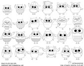 Owl stamps Digital clip art for Personal and Commercial use - INSTANT DOWNLOAD