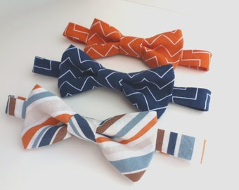 Boys Bow Tie- Orange and Blue Chevron or Striped- Sizes newborn-adult