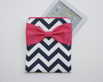 iPad Case - Android - Microsoft Tablet Sleeve - Navy and White Chevron