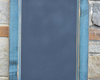 """Handcrafted Saratoga Blue PRiMiTiVE Distressed Country Kitchen Chalkboard / 16"""" x 24"""" Vertical Style /"""
