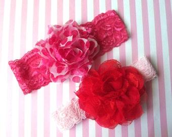 Valentines Lace Baby Headband SET,Valentine Headbands,Baby Valentine Headbands,Holiday Headband,Newborn Baby Girl Headband,GIFT SET