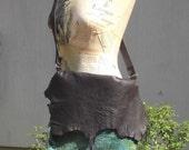 Felted greenish blue/brown messenger bag with genuine leather shoulder loop