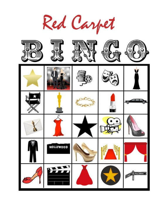 Items Similar To Hollywood Movie Star Red Carpet BINGO