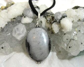 Gray Jasper Pendant, Black Jasper Pendant Solid 925 and 935 Sterling Silver Argentium Anti Tarnish wire