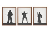STAR WARS | Set of 3 Character Of Your Choice Poster : Modern Illustration Retro Art Wall Decor Print
