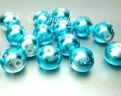 20 Metallic Blue Beads - 10mm Blue and White Metallic Glass Beads