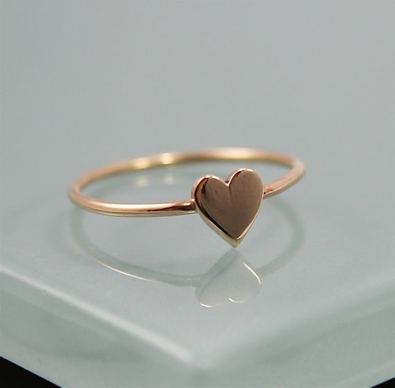 Tiny Valentine Heart Ring 14k SOLID Gold 1mm Band with 14k