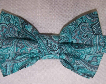 Aqua Paisley Men's Bow Tie - Bow Tie - Wedding Bow Tie - Cotton Men's -  Free Style, Pretied Adjustable and Clip on available