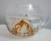 Antique Cut Glass With Swan And Flower Design