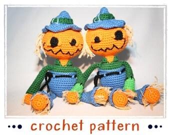 Scarekin - Pumpkin Scarecrow - Crochet Pattern - PDF file - Amigurumi
