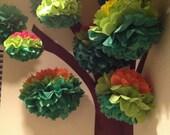 15 Tissue Paper Pom Poms / Woodland Themed Nursery  / Baby Mobile / Classroom Tree Installation