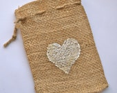 Burlap Favor Bags  4 x 6 inches Heart Bags, Color of your choice  x 10 - wedding Favors - rustic wedding