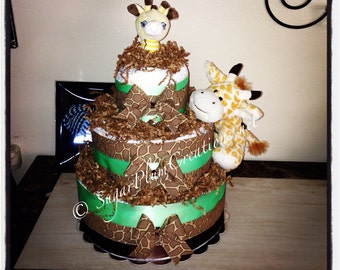 Giraffe Diaper Cake - Giraffe Three Tier Diaper Cake Baby Shower Gifts/Decorations