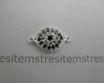 CZ  sterling silver evil eye connector