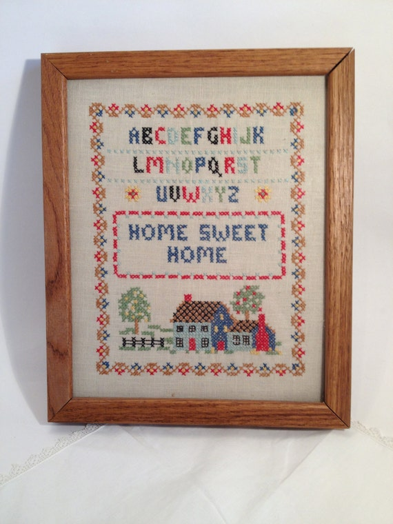 Home Sweet Home ABC Framed Wall Hanging, Vintage Country Farmhouse Chic Wall Hanging