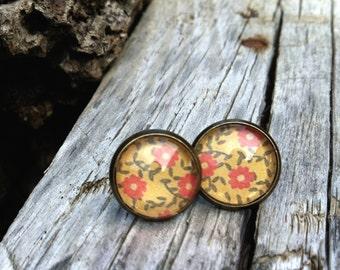 SALE -  mini stud earrings - vintage floral paper earrings -moustard, red, brown, Orange - cute earrings -gifts under 10 usd