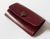 Leather Key Holder - Leather Key Case in Burgundy with Tree Button - Gift for Men - Handmade and Hand Stitched - Free Monogram