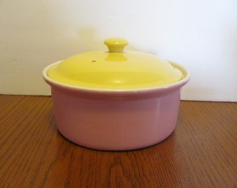 Vintage Hall Pink Yellow Covered Casserole Pastels