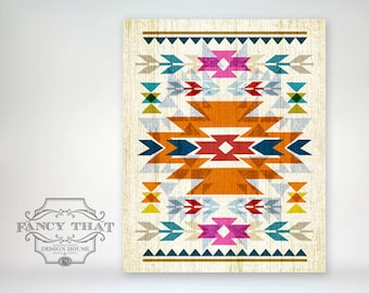 8x10 art print - Native American / Navajo Inspired - Bright, Colorful & Graphic Art Pattern Poster Print