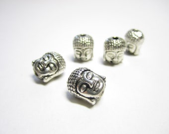 10 Buddha head beads - silver metal double-sided Buddha head beads, 10mm meditating Buddha beads, Buddha charms, Buddhist beads - 10 pcs.