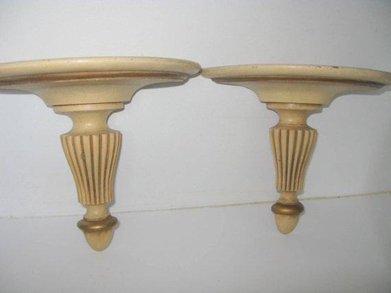 Wall Sconces Shelf : Pair Wall Sconces // Antique Wall Shelves // by greenleafvintage1
