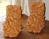 Vintage Carved Faux Wood NETTLE CREEK Flower Rose Bookends