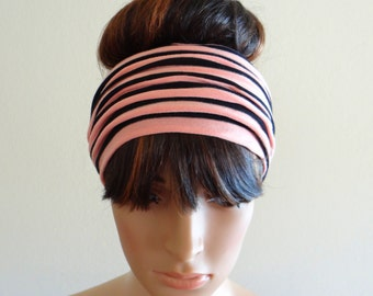 Peach And Black Striped Headband.Striped Head Wrap