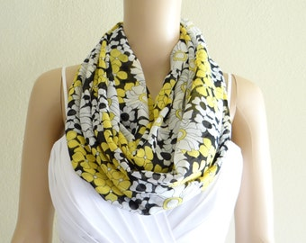 Yellow White And Black Pattern Scarf. Floral Infinity Scarf. Flower Circle Scarf. Printed Chiffon Loop Scarf.