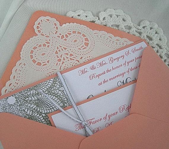 Coral Colored Wedding Invitations: Items Similar To Coral N Linen Wedding Invitation W Doily