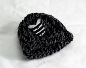Knit zebra child's hat