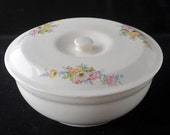 Bak Serve by Paden City Pottery Covered Serving Bowl Casserole with Pastel Flowers Vintage 1930s