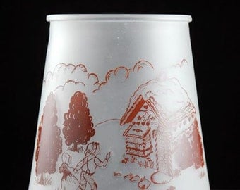 Bartlett Collins Pokee Frosted White Open Cookie Jar Canister with Hansel and Gretel in Brown Vintage 1950s
