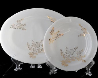 Golden Glory 8 Inch Rimmed Soup Bowl and 12 Inch Platter by the Federal Glass Company Set Vintage 1960s
