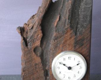 Mantle Clock / Desk Clock / Walnut Clock /  Rustic Walnut / Artistic Clock / Art Clock / Dark Clock