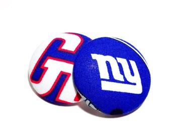 Oversized New York Giants Print Button Earrings