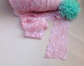 5 yards of lace elastic 2.25' Wide PINK lace for baby headbands supplies