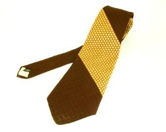 1970s Wide Brown MensTie Vintage Disco Era Textured Woven 100% Polyester Wide Necktie with Geometric Designs by The Broadway