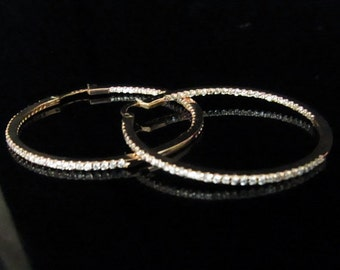 Diamonds IN and OUT & 14K Yellow  Gold 1.35 Inch Diameter Hoop Earrings