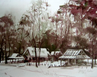 Snow Landscape Original Watercolor, Snowy Grey Misty Morning, Park Trees, Gray with Hints of Red and Green color, Small painting, Snowscape