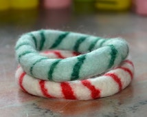 A Set of 2 Swirl Felted Bangles