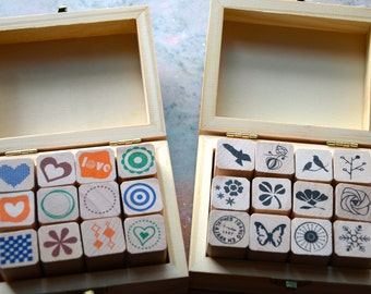Simple Pattern & Nature Pattern -Wooden Rubber Stamp Set