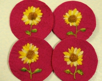 Gift Idea: A Set of 4 Needle Felted Coasters (SunFlower)
