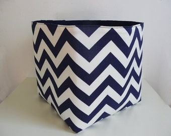 Extra Large Storage Basket Fabric Organizer in Navy Blue and White Chevron Zig Zag with Navy Blue Canvas liner - 10 x 10 x 10
